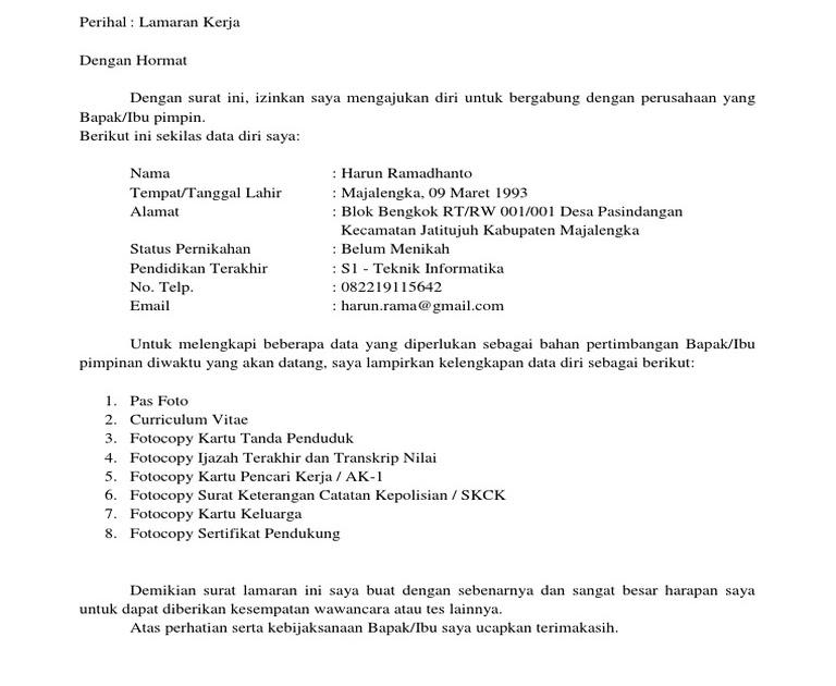 Pabrik Garment Contoh Surat Lamaran Kerja Garmen ...