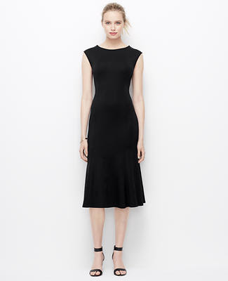 Ponte Shoulder Zip Midi Dress