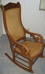 Real Wood Furniture Vintage Cane Back Rattan Rocking