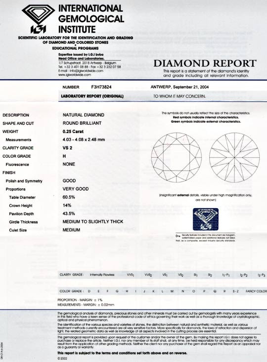 Foto 9, 1A-Diamant, IGI!!, Brillant 0,25ct Wesselton-H VS2 Shop, D5499