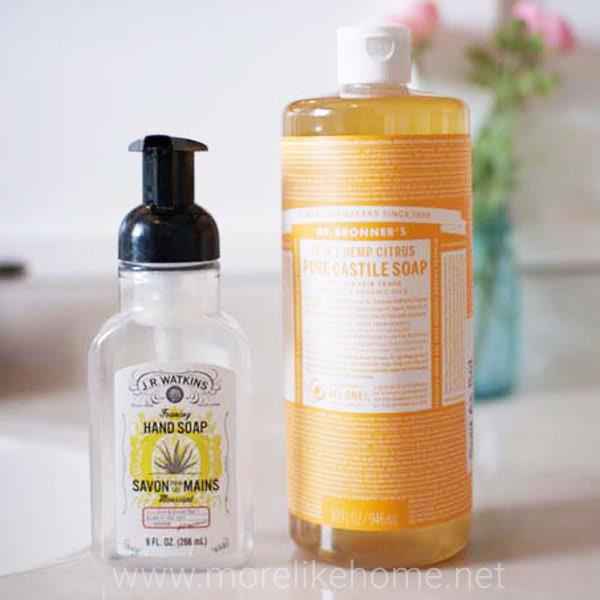 diy natural foaming hand soap dr bronners castile