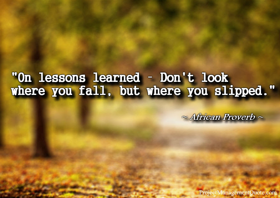 Lessons Learned Pmp Quotes