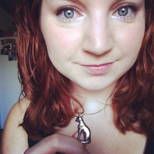 Wearing my cat necklace from @frogmellaink <3 It's purrfect! #catlady #redhead