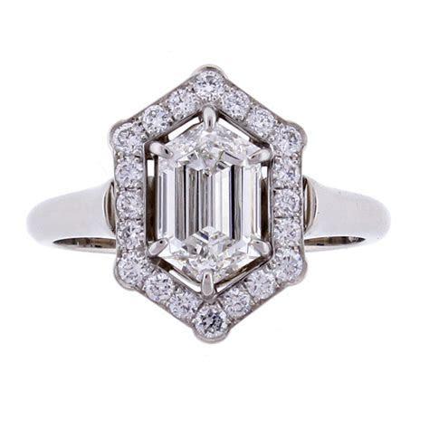 Hexagon Diamond Halo Engagement Ring