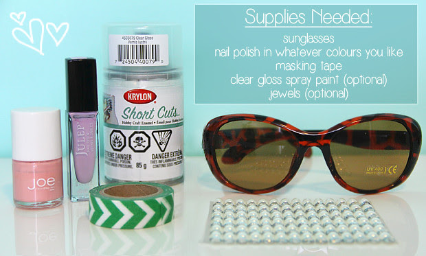 blog wanderlust whimsy megan diy sunglasses dollar store cheap crafts pink purple crafty sunnies
