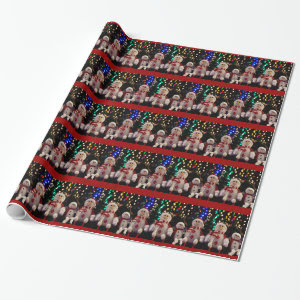Snowman and Family ornaments on Tree Wrapping Pape Wrapping Paper