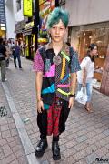 Japanese Guy w/ Blue-Green Hair, Cigarette Box Earring & Drop Crotch Pants