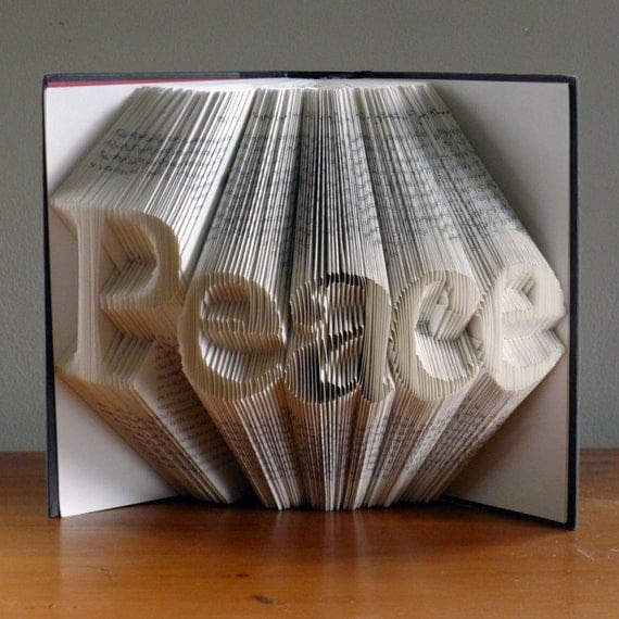 Christmas Decoration - Peace - Folded Book Art - Peace - Book Sculpture - Unique Gift