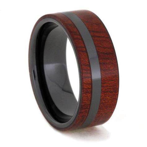 spectacular bloodwood ring  distinctive black ceramic