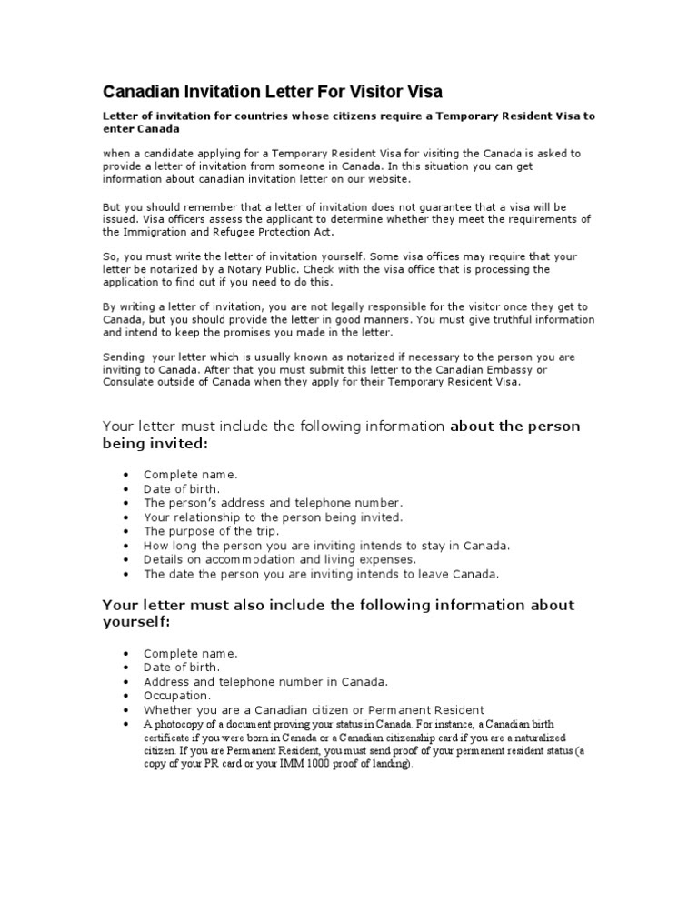 invitation letter for visa canada  letter