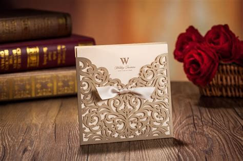 Laser Cut Wedding Invitations Cards Gold Ribbon Hollow