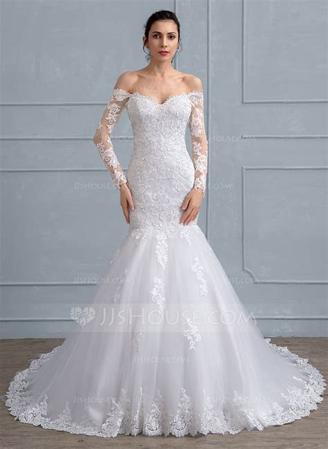 Trumpet/Mermaid Off the Shoulder Chapel Train Tulle Lace