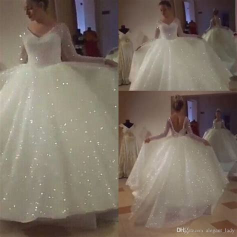 Discount Glitter Wedding Dresses With Long Sleeve 2018 V