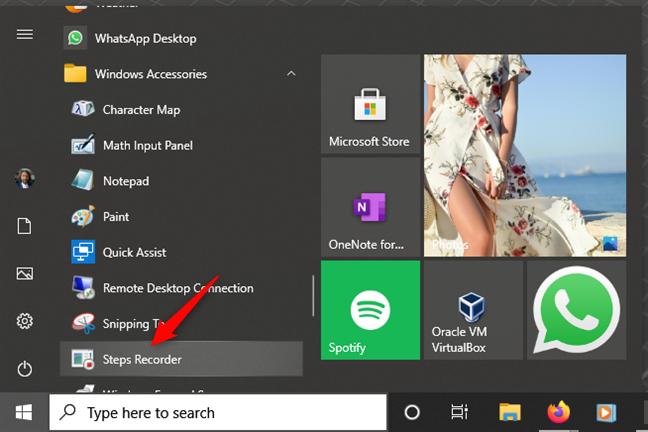 Abra Steps Recorder en Windows 10 desde el menú Inicio