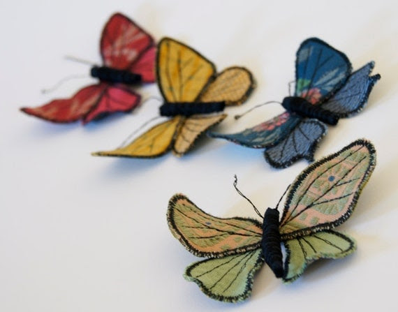 fabric lycaenidae butterfly brooch / ornament green jacquard