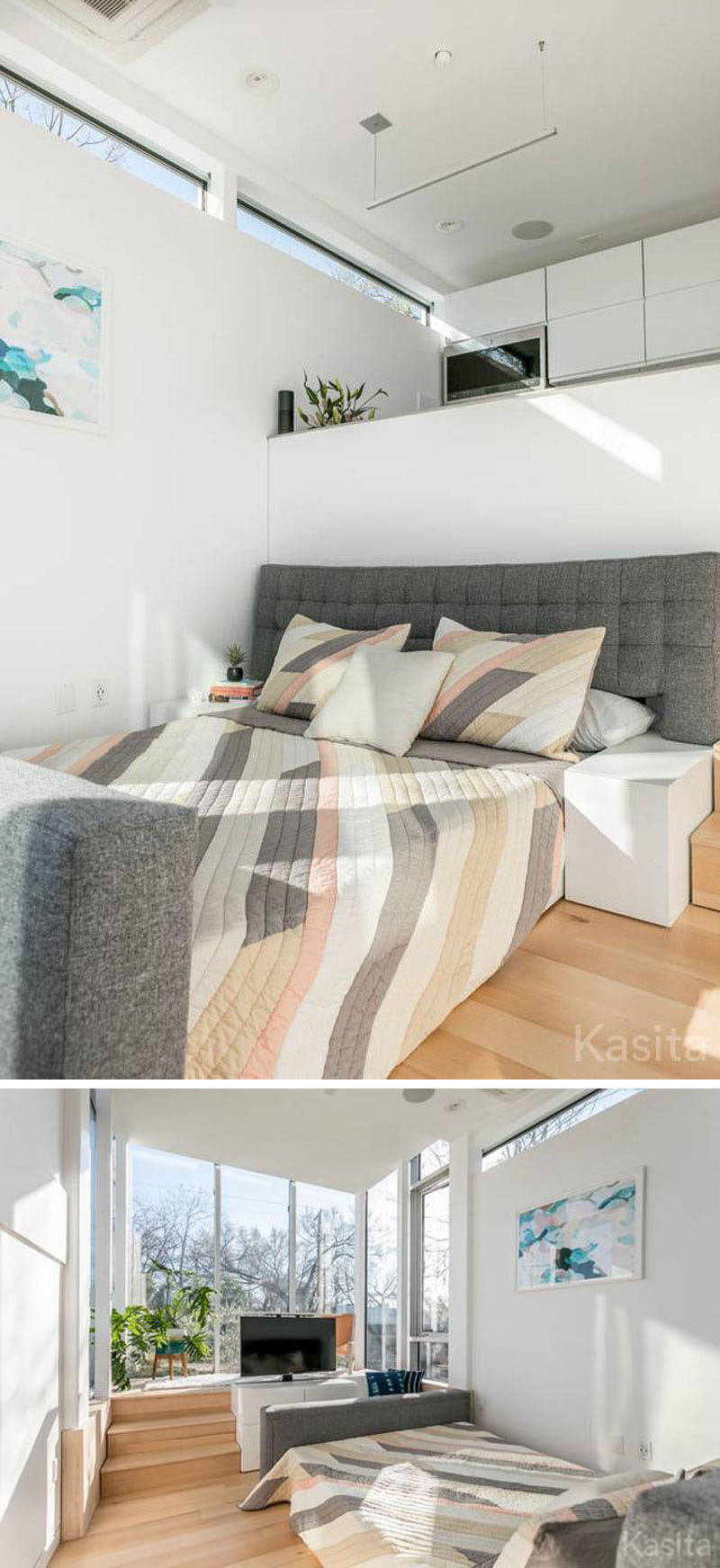 In this modern tiny house, the couch in the living room can be transformed into a queen-size bed by simply extending it out. Part of the couch frame now becomes bedside tables.