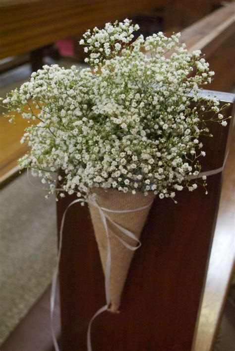 Hessian cones filled with gypsophila   nina in 2019