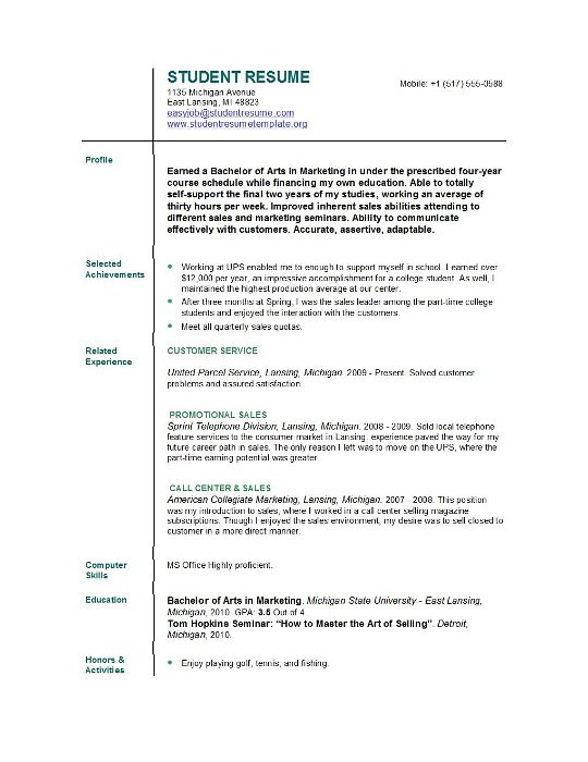 resume format  resume format for college students with no