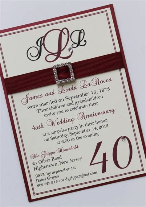 Ruby 40th Wedding Anniversary Invitation   A Touch of
