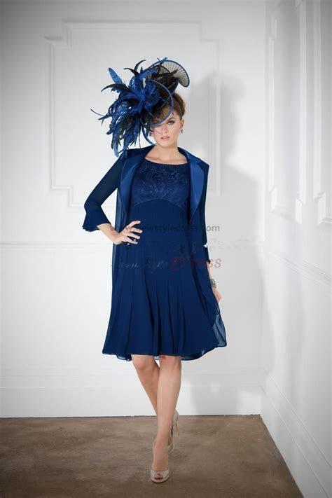 fashion royal blue knee length mother   bride dress