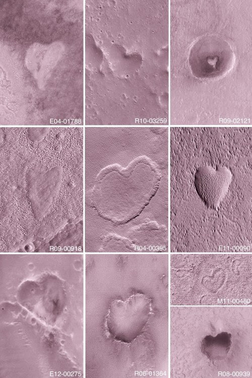 "ufo-the-truth-is-out-there: ""Nasa spots mysterious heart-shaped craters on the surface of Mars. Mars wishes you love ❤ """