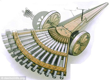 Invention: The multi-barrelled machine gun was a weapon with remarkable firepower. Da Vinci sketched this rolling artillery battery around 1480