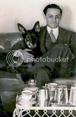 Enrique Jardiel Poncela y su perro Bobby