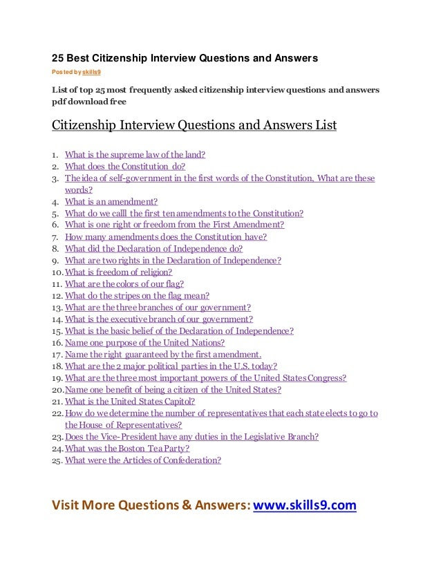 Us citizenship test questions and answers
