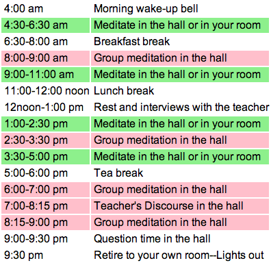 Daily Schedule Vipassana | Daily Planner