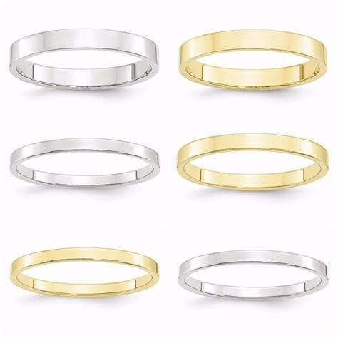 10k White / Yellow Gold Flat 2mm,2.5mm,3mm Wedding Band