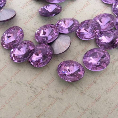 8mm-Light-Amethyst-Rivoli-Point-back-Rhinestones-Glass-Made-Chatons-Strass-12ps