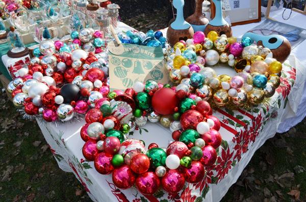My handmade Shiny Brite Christmas ornament wreaths on display. I had
