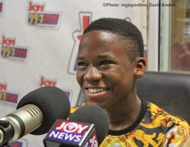 Abraham Attah in the studio of Joy FM for an interview.