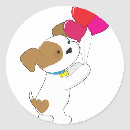 Cute Puppy Balloons Round Stickers
