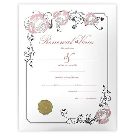 Personalized Renewal of Vows Certificate   AMM   American