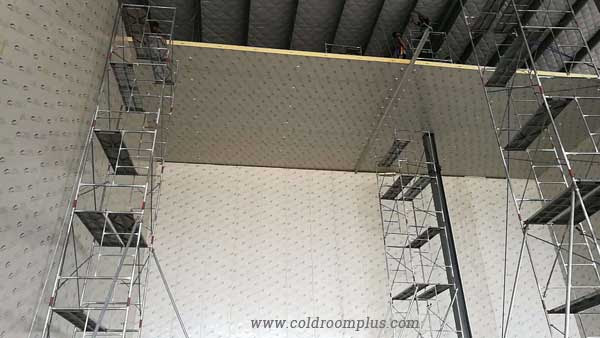 Myanmar cold room project PU panel installation