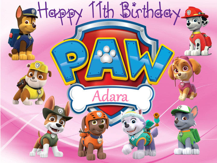 Paw Patrol Characters Pink Edible Cake Topper Trish Gayle