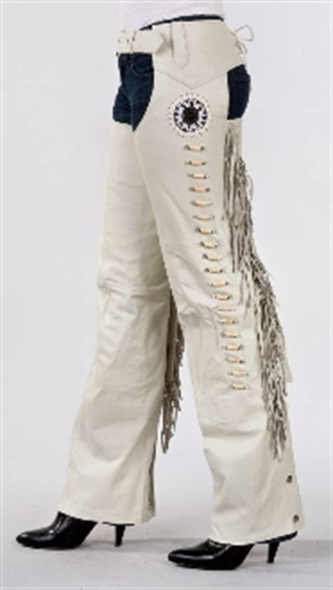Bone leather fringe western chaps
