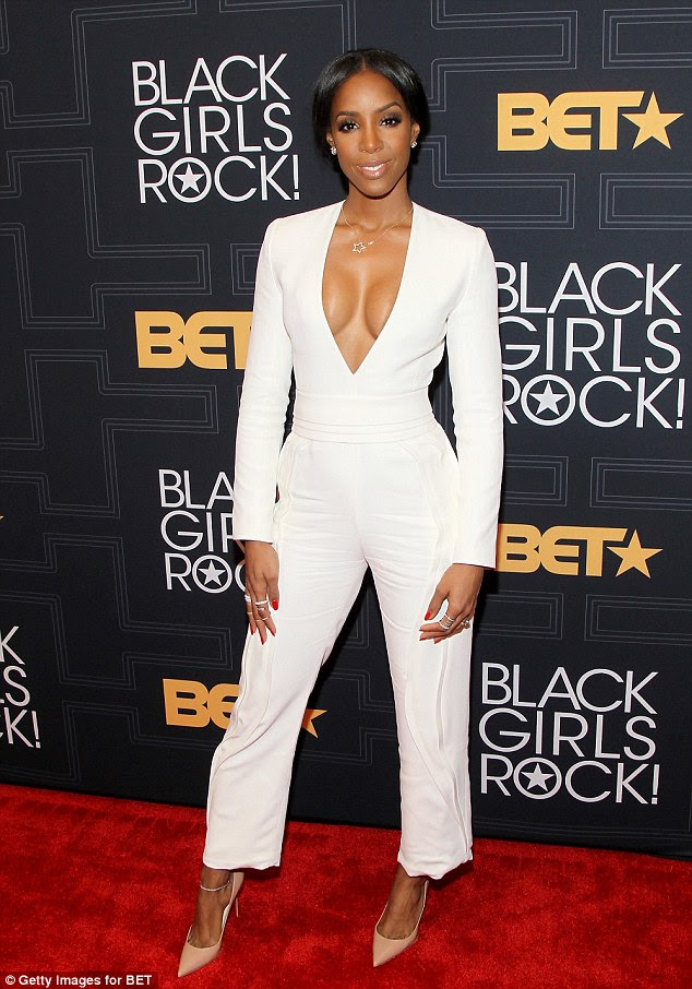 White hot:Kelly Rowland made sure all eyes were on her as she stepped out on the red carpet at the Black Girls Rock! event in New York on Friday