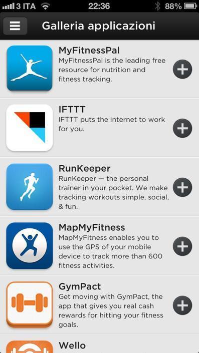 Si possono associare i profili di app per il fitness