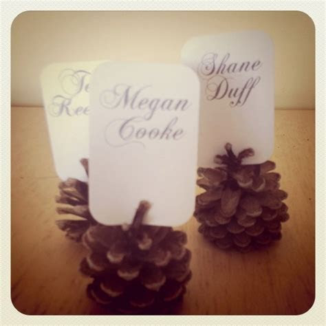 Winter Wedding DIY: Glitter Pine Cone Place Cards