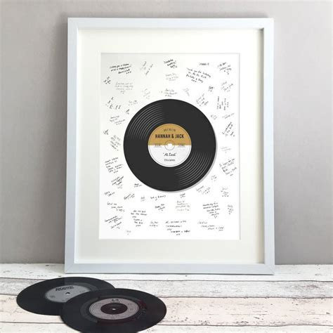 personalised record wedding guest book print by bird & key