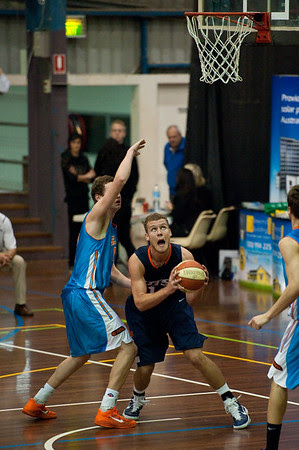 Igor Nujic, Jarrod Camble - NBL Pre Season Basketball: Gold Coast Blaze v University of Texas San Antonio; Carrara, Gold Coast, Queensland, Australia. Photos by Des Thureson:  http://disci.smugmug.com.
