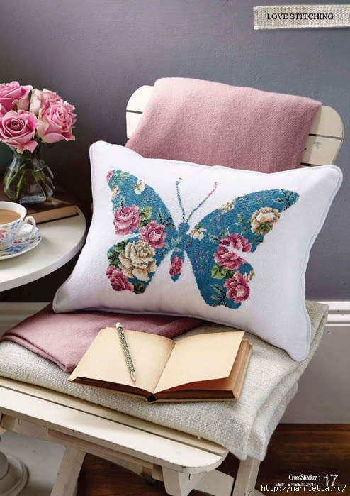 Pillow with embroidered butterflies.  Scheme (2) (494x699, 282Kb)