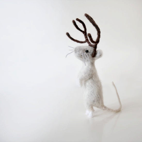 Rudy the mouse with deer antlers, handmade gray white poseable mousie doll - forestbluefactory