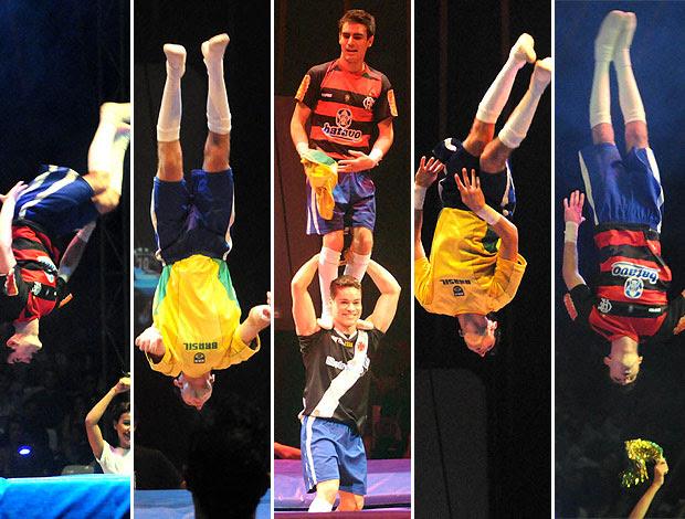 montagem circo com os clubes cariocas Marcos Frota EE de Bolsa (Foto: André Durão / GLOBOESPORTE.COM)