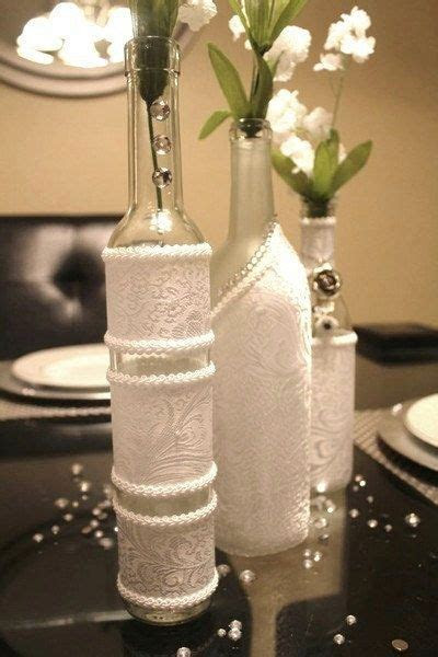SET(3)  Decorated Wine Bottle Centerpiece White. Wine