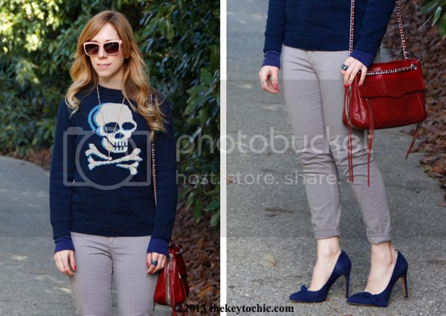 Rag & Bone legging jeans, Sole Society Elisa bow heels, Poppy look alike pumps, Rebecca Minkoff Swing bag, Target skull sweater, LA fashion blog