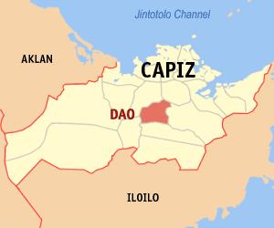 Bản đồ của Capiz với vị trí của Dao