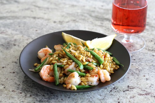 Warm Shrimp Salad with Kamut, Red Chile, and Tarragon